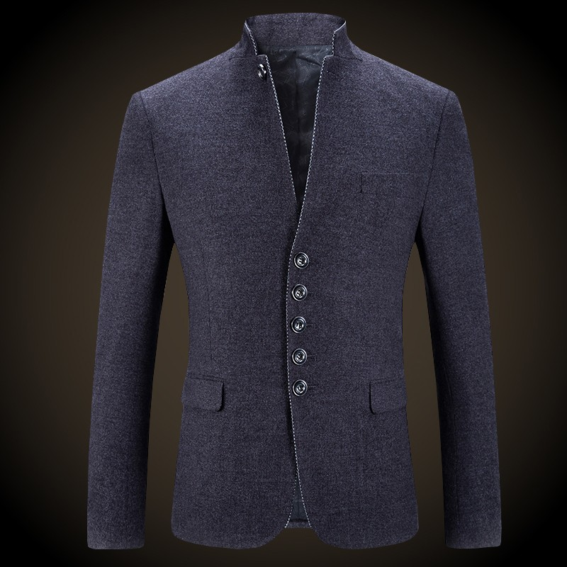 Fetching Stand-up Collar Five Buttons Gray Blazer