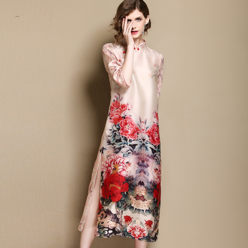 Sumptuous Peony Flowers Silk Dress Cheongsam Qipao