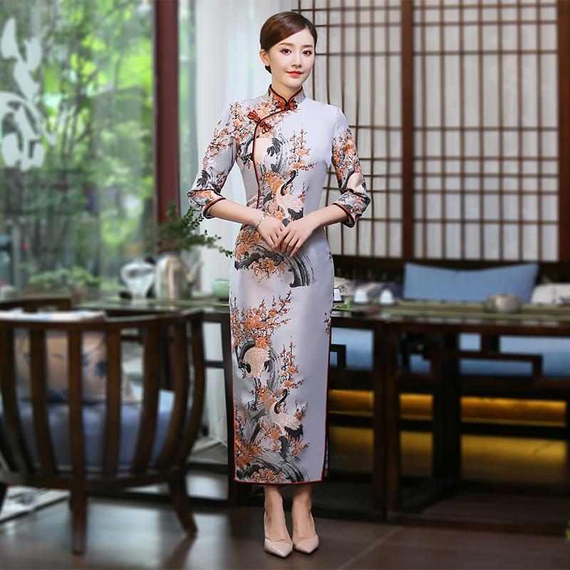 Fantastic Jacquard Long Qipao Cheongsam Chinese Dress