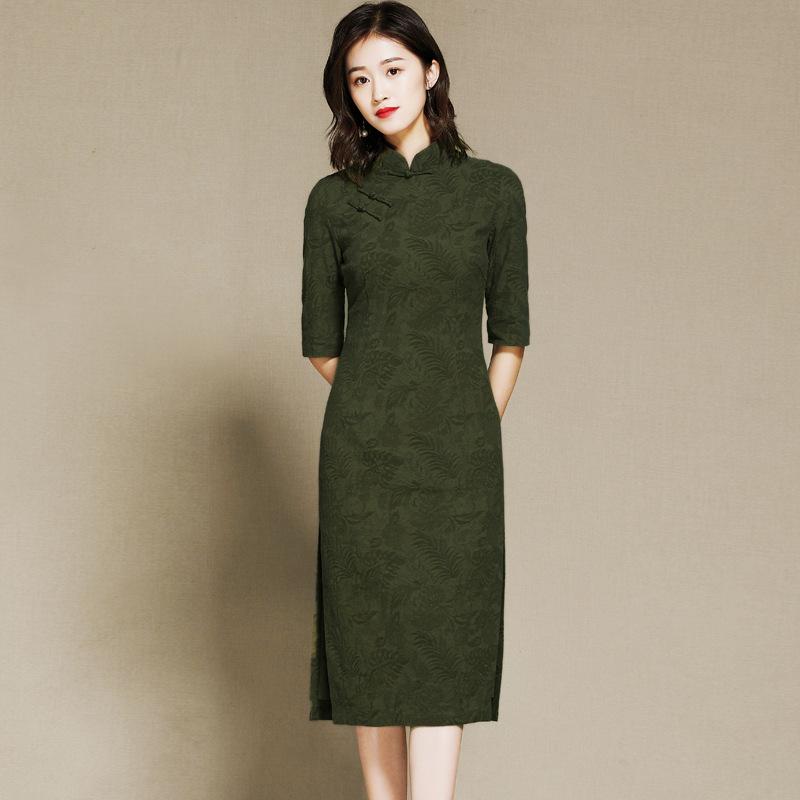 Nice Half Sleeve Qipao Cheongsam Dress - Green