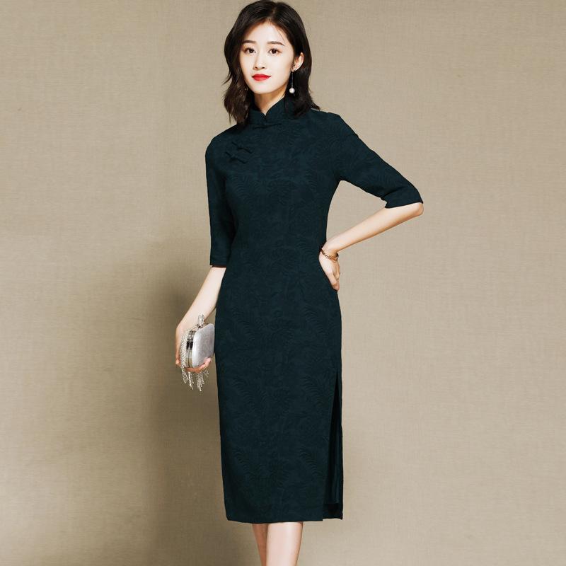 Nice Half Sleeve Qipao Cheongsam Dress - Navy