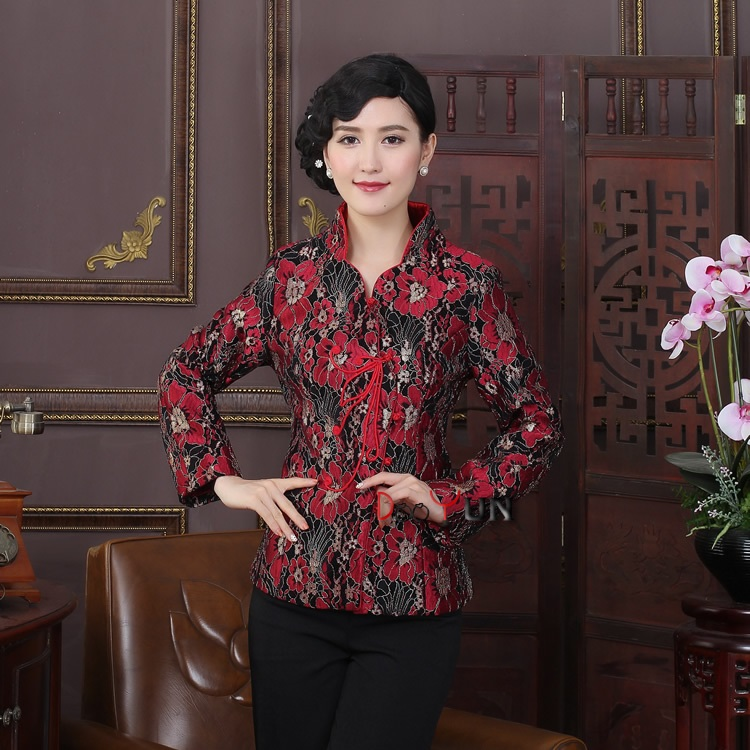 Frog Button Attracting Jacquard Chinese Jacket - Claret