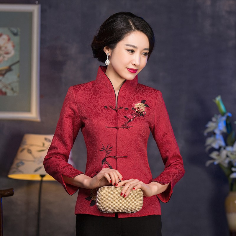 Fabulous Embroidery Frog Button Chinese Tang Jacket - Red