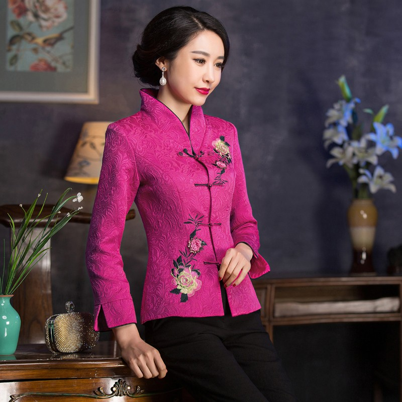 Fabulous Embroidery Frog Button Chinese Tang Jacket - Pink