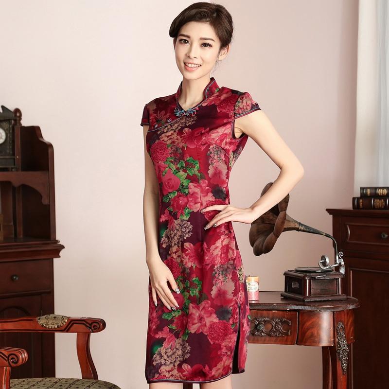 Splendid Floral Print Silk Qipao Cheongsam Dress