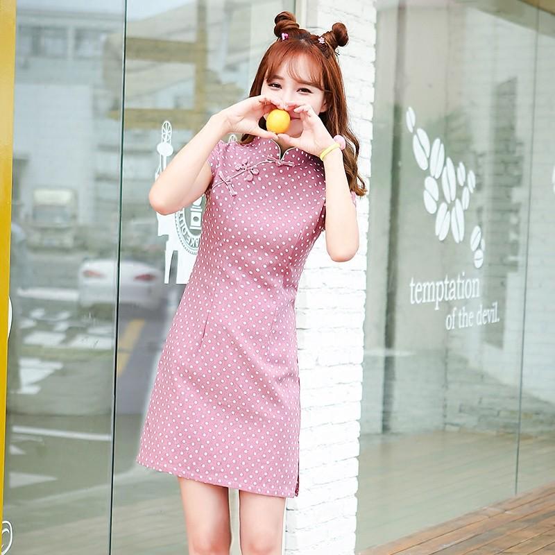 Adorable Polka Dot Linen Qipao Cheongsam Chinese Dress