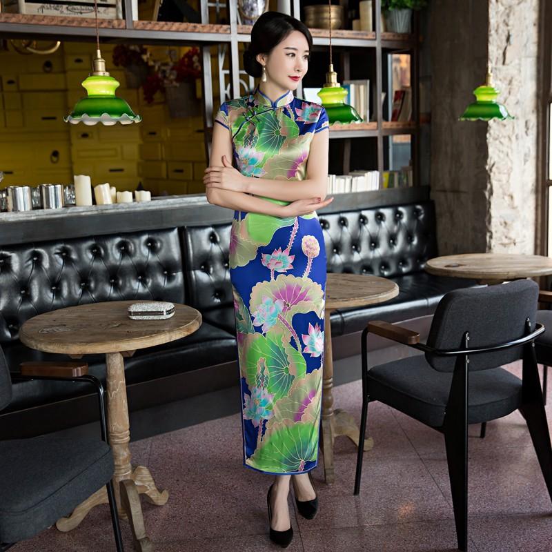 Stupendous Floral Print Silk Chinese Dress Cheongsam Qipao