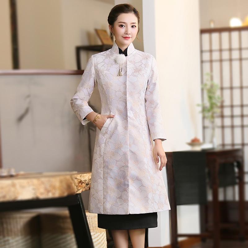 Attractive Light Purple Jacquard Oriental Long Coat