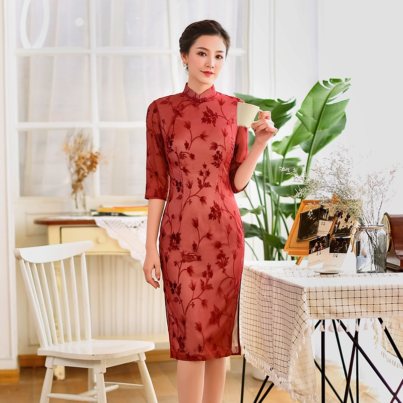 Charming Flocked Velvet Cheongsam Qipao Dress - Red