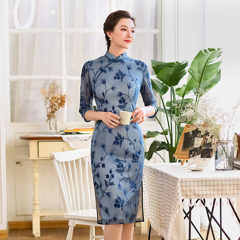 Charming Flocked Velvet Cheongsam Qipao Dress - Blue