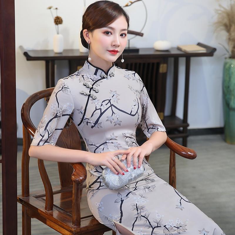 Pretty Floral Print Half Sleeve Cheongsam Qipao Dress