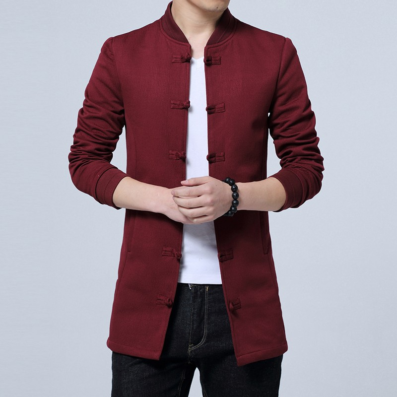 Fetching Frog Button Cotton Blend Chinese Jacket - Claret