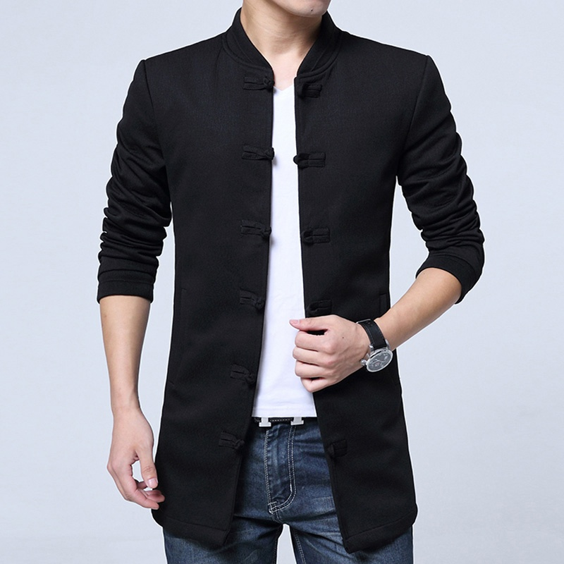 Fetching Frog Button Cotton Blend Chinese Jacket - Black