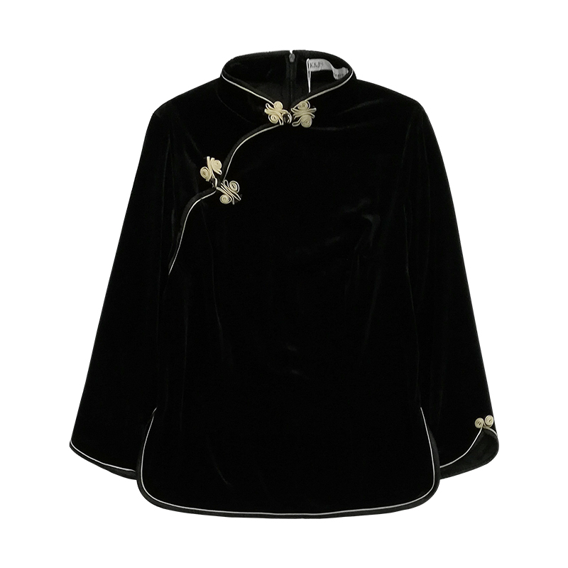 Pretty Back Zip Velvet Cheongsam Qipao Shirt - Black