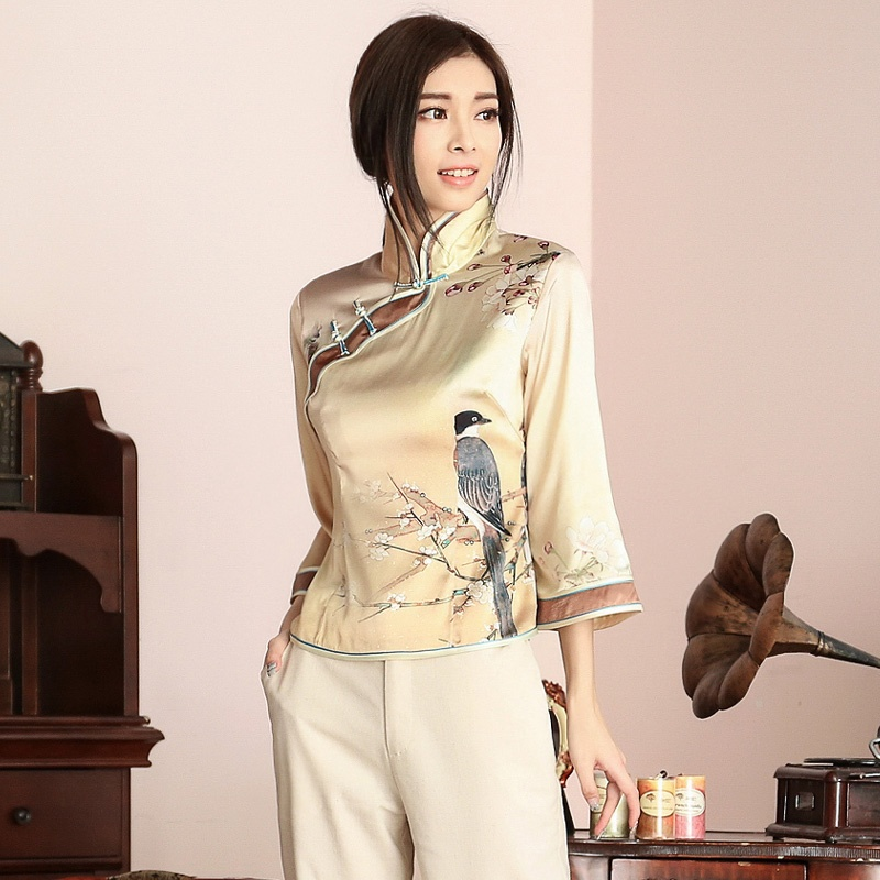 Engaging Print Frog Button Silk Qipao Cheongsam Shirt