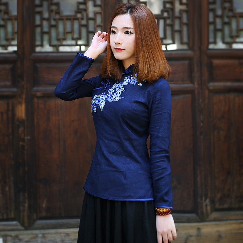 Pretty Embroidery Linen Cheongsam Qipao Shirt