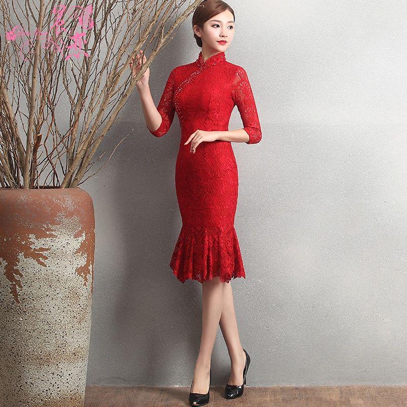 Lovely Knee Length Fishtail Chinese Dress Cheongsam Qipao