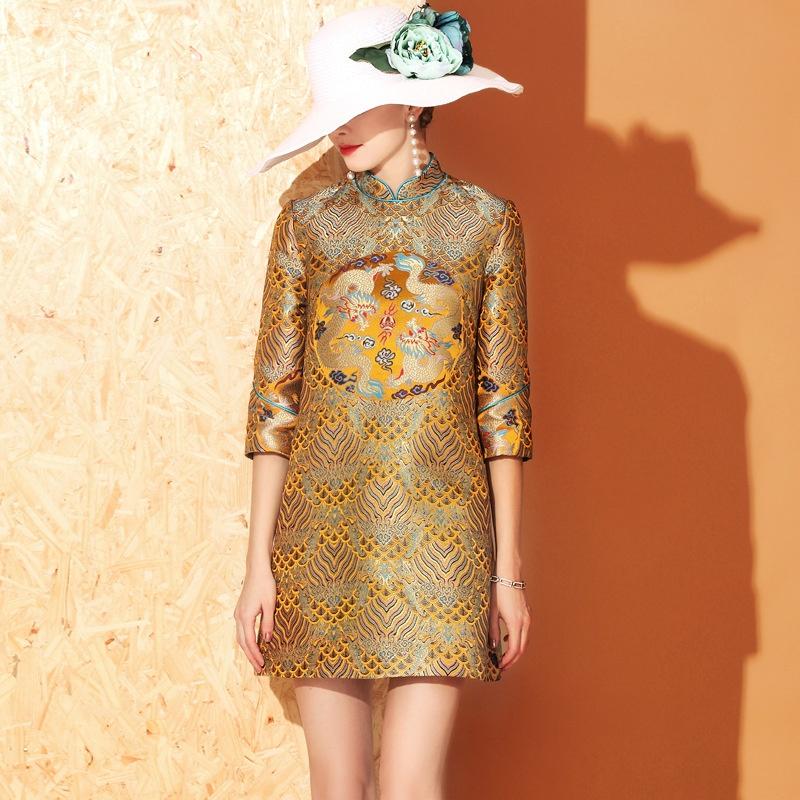 Double Dragons Jacquard Short Qipao Cheongsam Dress