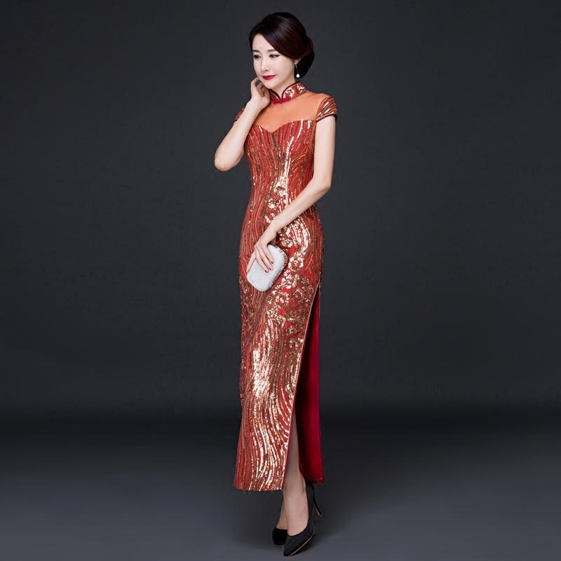 Remarkable Beaded Lace Chinese Dress Qipao Cheongsam