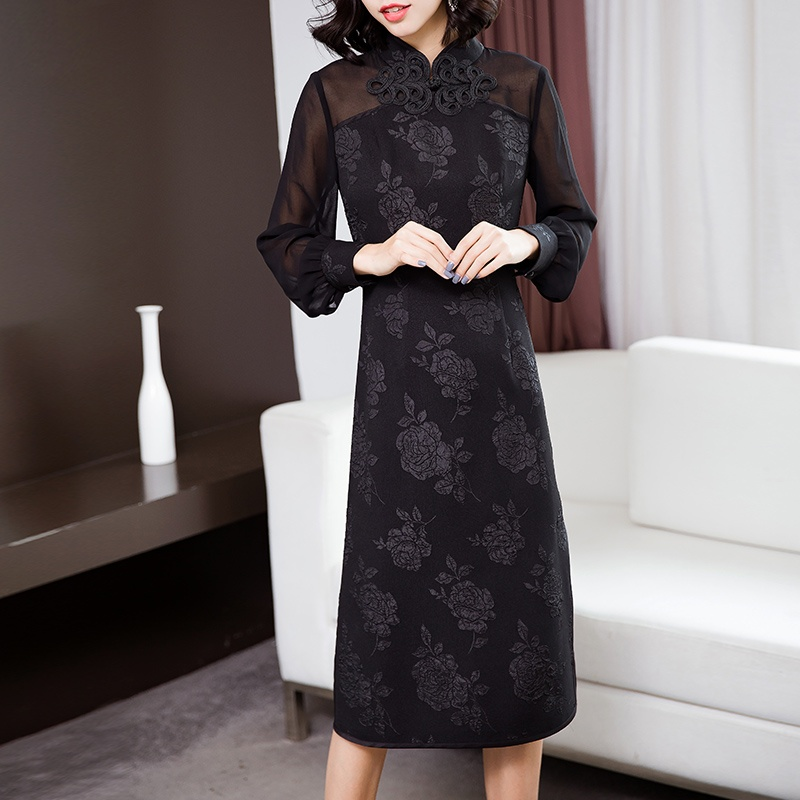 Modern Long Sleeve Qipao Cheongsam Dress - Black