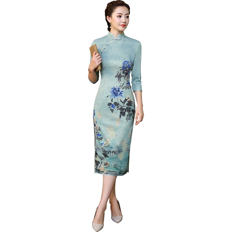 Fetching Floral Print Qipao Cheongsam Chinese Dress