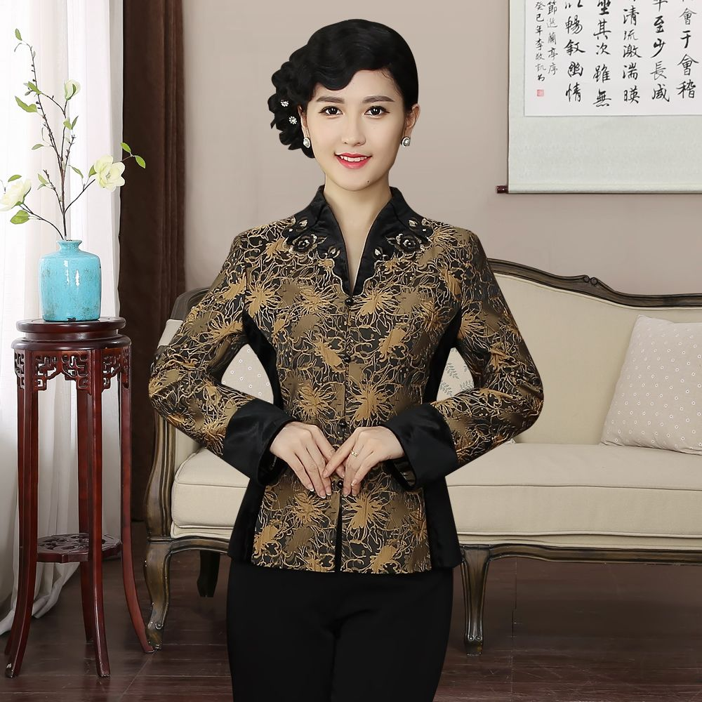 Pretty Mandarin Collar Open Neck Chinese Jacket - Brown