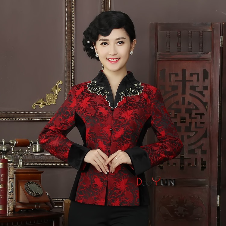 Pretty Mandarin Collar Open Neck Chinese Jacket - Claret