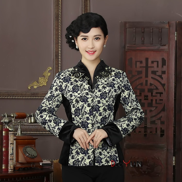 Pretty Mandarin Collar Open Neck Chinese Jacket - Blue