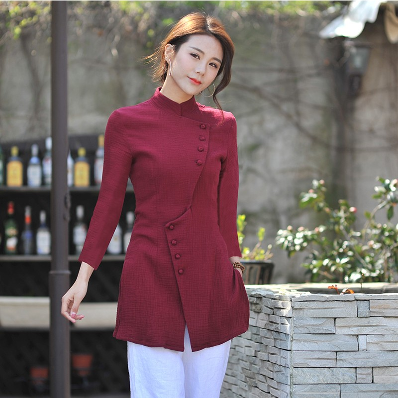 Delightful Cotton Flax Modern Chinese Blouse - Claret