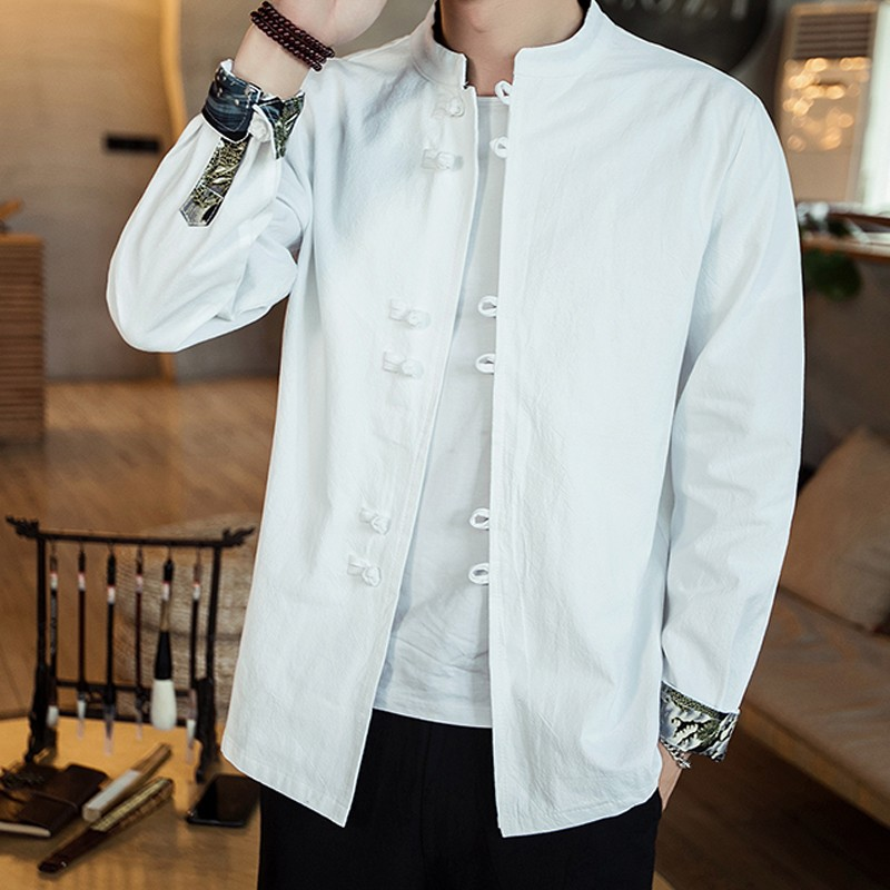 Nice Stand-up Collar Frog Button Shirt - White