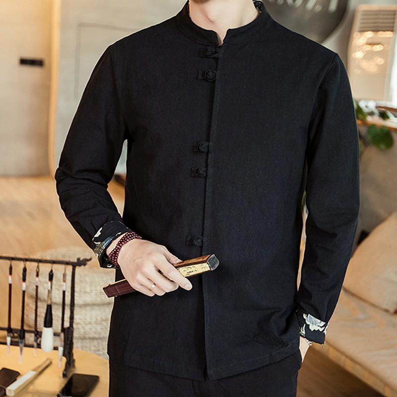 Nice Stand-up Collar Frog Button Shirt - Black