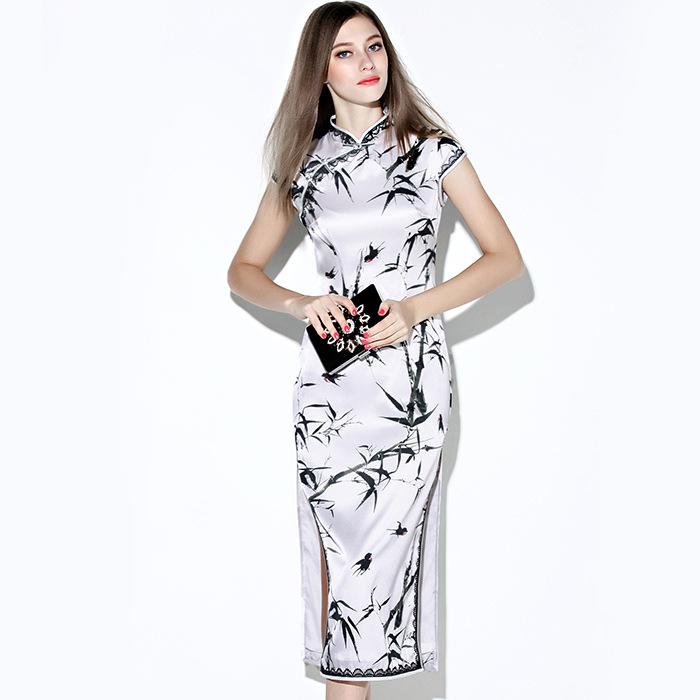 Happy Swallow And Bamboo Silk Cheongsam Qipao Dress