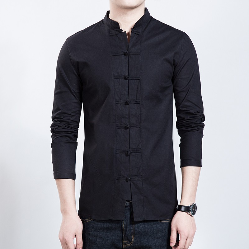 Excellent Stand-up Collar Frog Button Shirt - Black