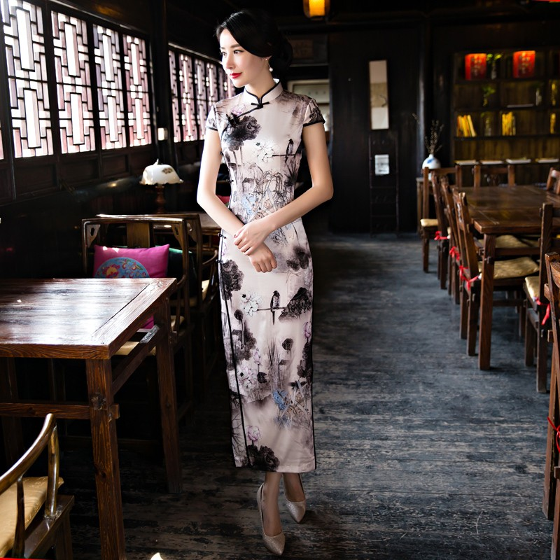 Enchanting Floral Print Silk Dress Qipao Cheongsam