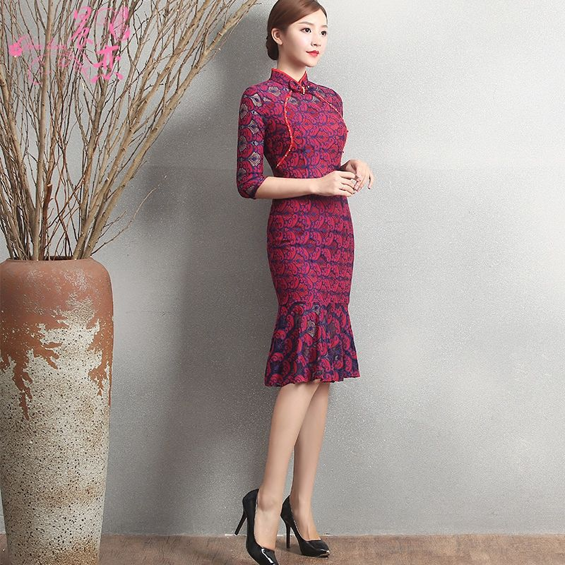 Sweet Knee Length Fishtail Cheongsam Qipao Chinese Dress
