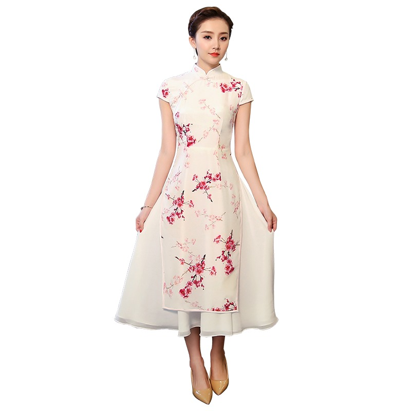 Charming Blossom Flowers Silk Ao Dai Cheongsam Dress