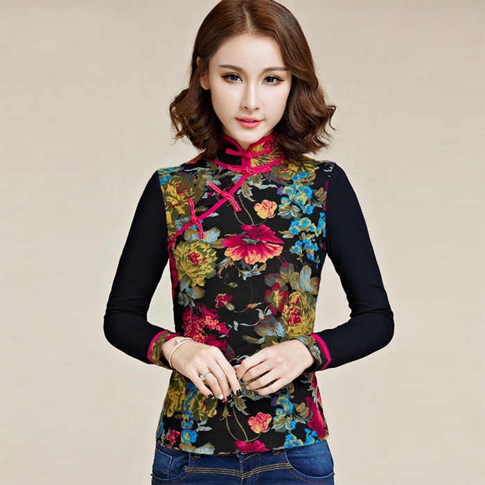Pleasant Frog Button Qipao Cheongsam Shirt - Black
