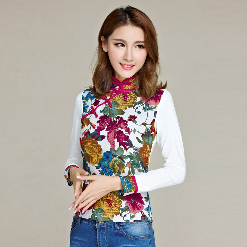 Pleasant Frog Button Qipao Cheongsam Shirt - White