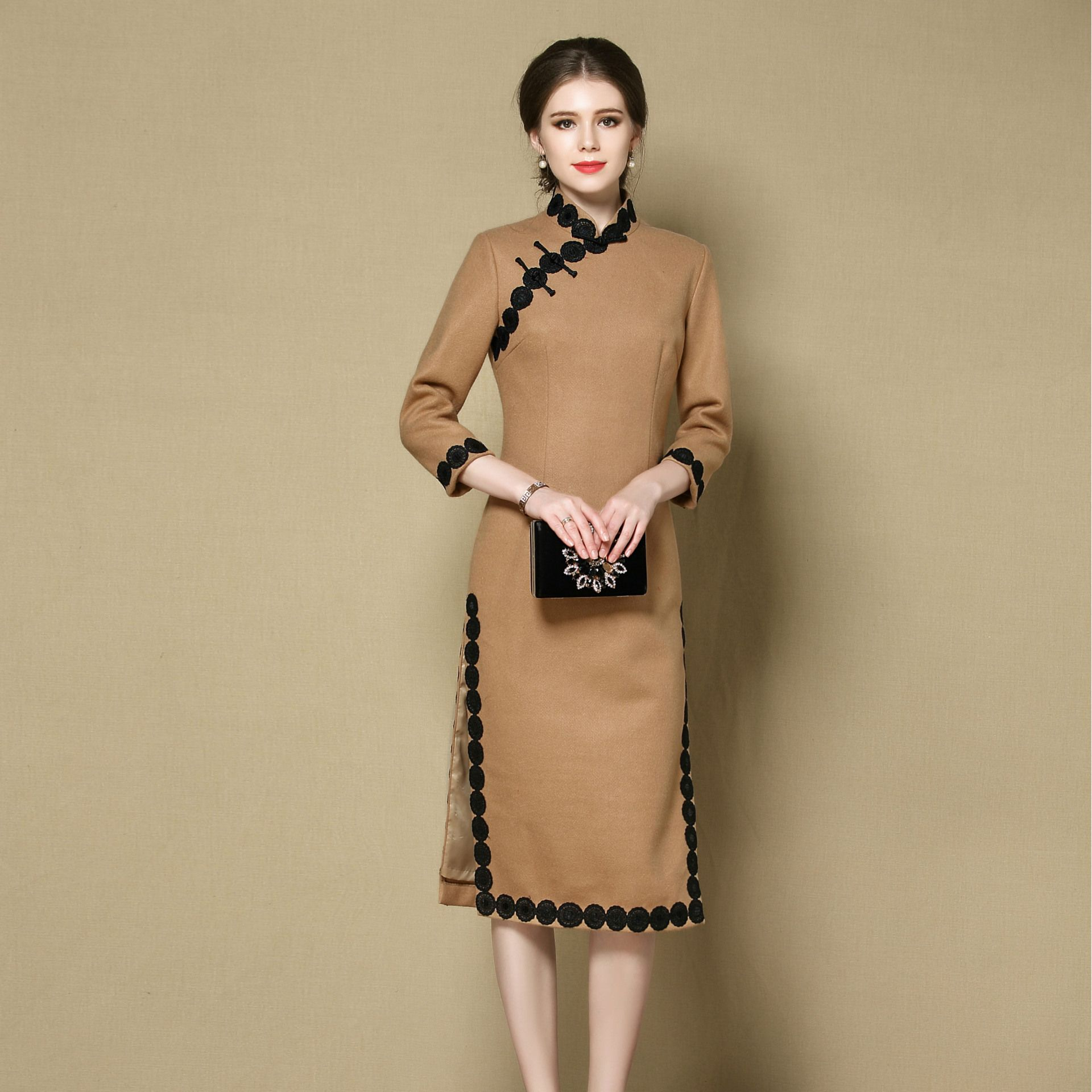 Excellent Woolen Frog Button Qipao Cheongsam Chinese Dress