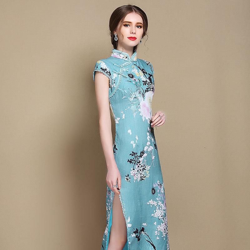 Charming Floral Print Chinese Dress Qipao Cheongsam