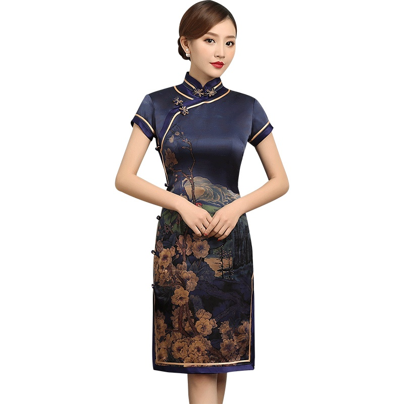 Fantastic Floral Print Silk Qipao Cheongsam Dress