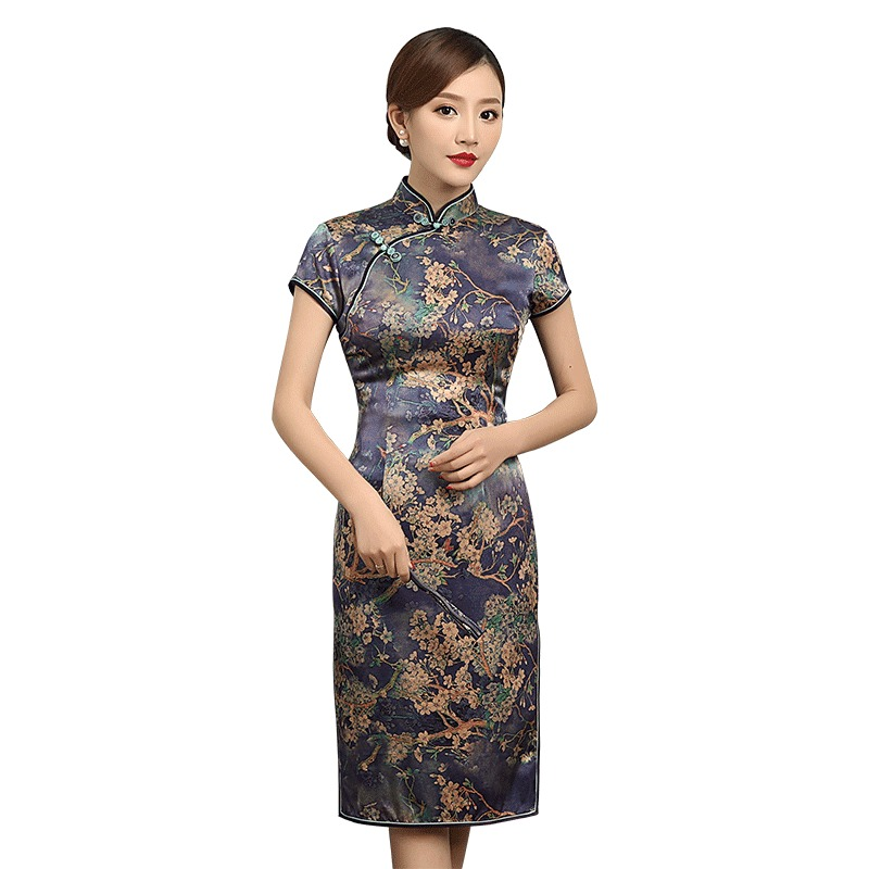Charming Print Heavy Silk Qipao Cheongsam Dress