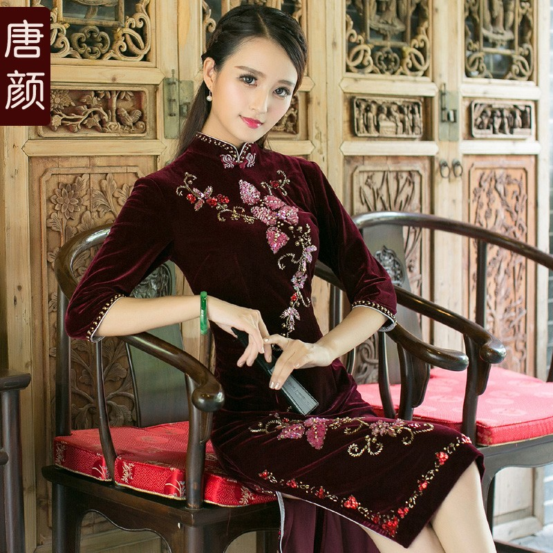Beaded Velvet Qipao Cheongsam Dress - Claret 3/4 Sleeve