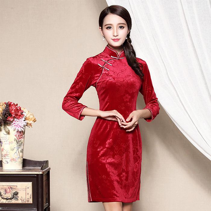 Delightful Red Velvet Chinese Dress Cheongsam Qipao