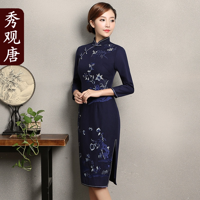 Gorgeous Embroidery Woolen Qipao Cheongsam Chinese Dress