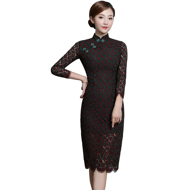 Pleasant Lace Back Zip Qipao Chinese Dress Cheongsam