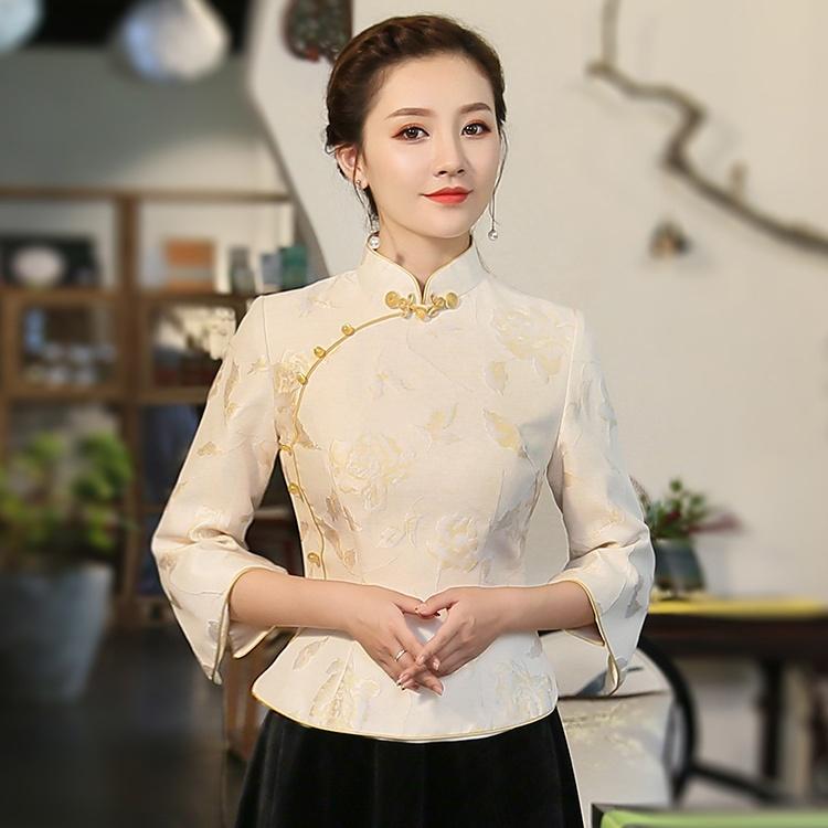 Charming Jacquard Chinese Qipao Cheongsam Shirt