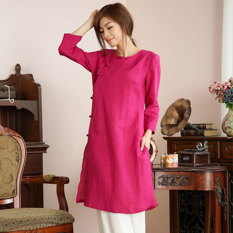 Excellent Scoop Neck Frog Button Blouse - Rose Red