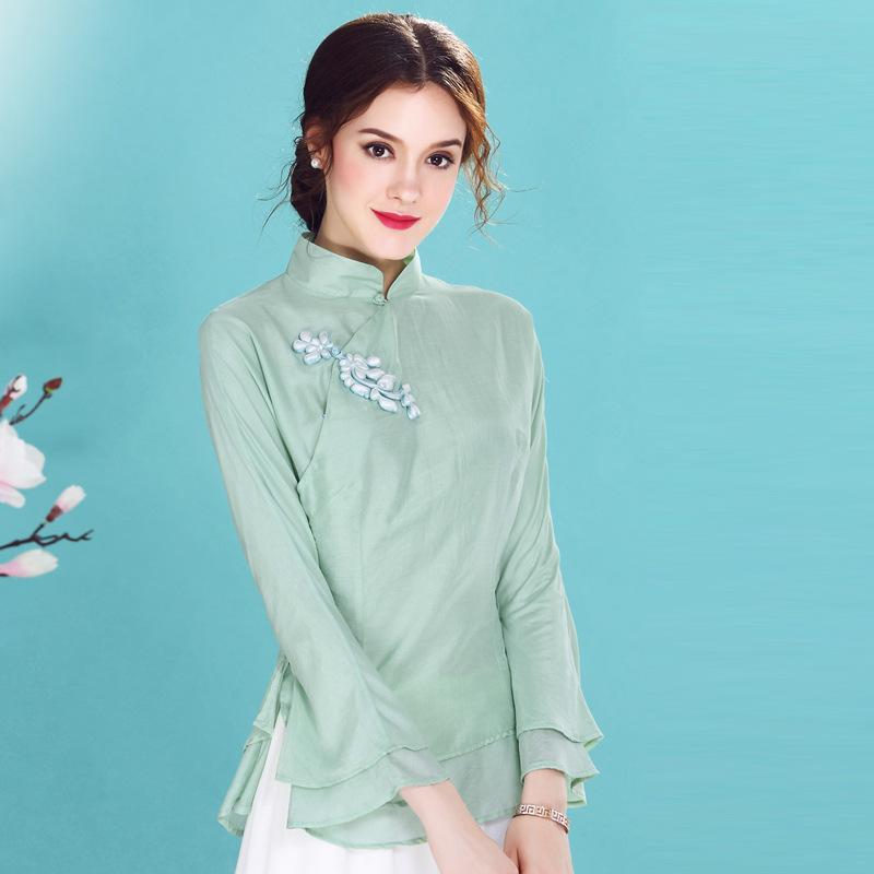 Sweet Speaker Sleeve Qipao Cheongsam Shirt - Green