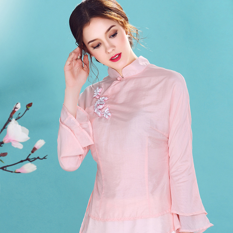 Sweet Speaker Sleeve Qipao Cheongsam Shirt - Pink